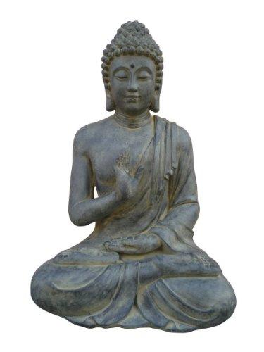 Figur Buddha sitzend mt Handgeste - für Haus und Garten - Höhe 73 cm - schwarz