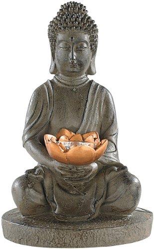 Lunartec Buddha Figur Solar-LED Deko Lampe Buddha für Garten Terrasse 28 cm Buddhas