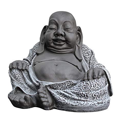 Tiefes Kunsthandwerk Buddha Figur aus Stein Schiefergrau Deko Statue frostsicher und wetterbeständig für Garten und Balkon Handgefertigt in Deutschland …
