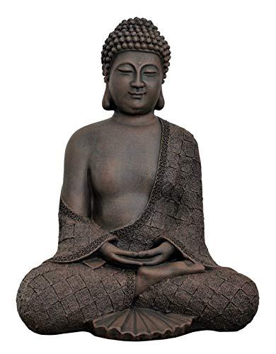 Tiefes Kunsthandwerk Buddha sitzend - Dunkelbraun Figur Deko Stein Statue Garten Frostsicher