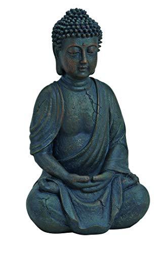 WOMA Deko Buddha Figur Sitzend aus Wetterfestem Polyresin Dekoration für Haus Wohnung und Garten 25cm hoch Skulptur für Innen und Außen Braun