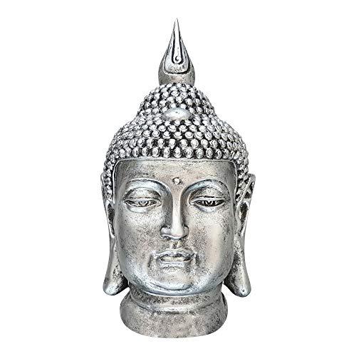 dasmöbelwerk Großer Buddha Kopf Figur Feng Shui Deko Lotus Asia Skulptur FROSTSICHER Garten 6 Farben 60 cm MZ Silber Antik