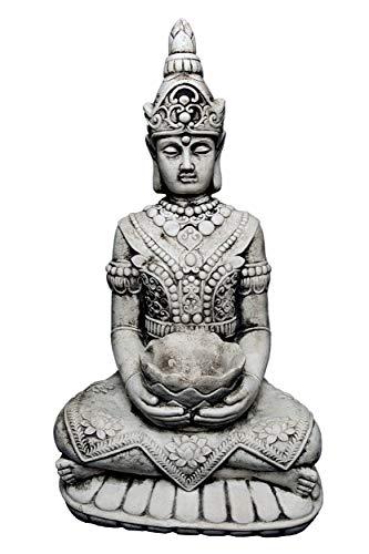 gartendekoparadiesde Wunderschöner großer Tempelwächter Stein Buddha - Figur Feng Shui aus Steinguss frostfest