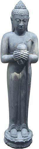 korboutlet Große Buddha-Figur mit Lotus-Gefäß Steingussstehender Steinbuddha 150cm SteinfigurSkulptur für Haus und Garten