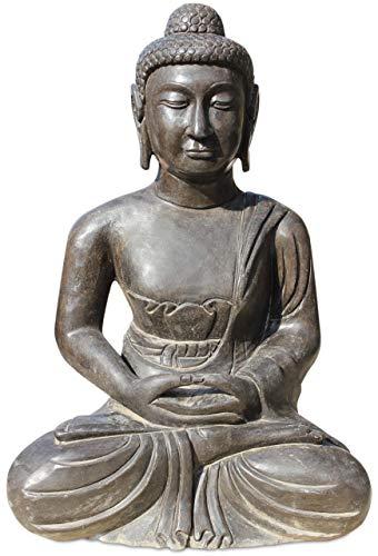 Asien Lifestyle Garten Buddha Figur 60cm Natur Stein Gartenbuddha TibetChina Figur
