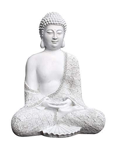 Tiefes Kunsthandwerk Steinfigur Buddha sitzend - Antik-Weiss Garten Deko Figur Stein Statue Frostsicher