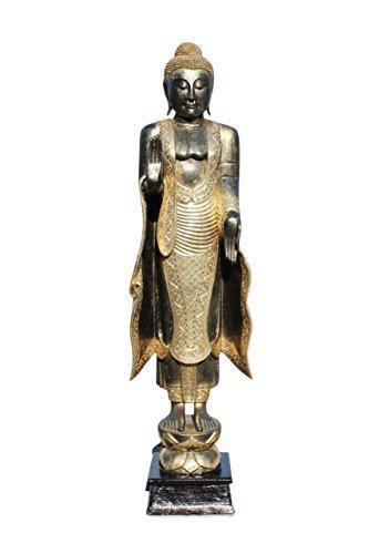 Asien Lifestyle Wochentag Buddha ´Montag´Figur Holz Buddhafigur Statue Schwarz