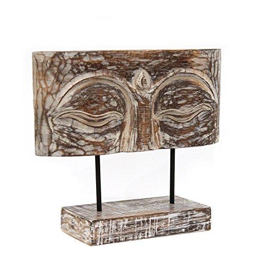 Buddha Augen Relief ca 30cm Gesicht Skulptur auf Sockel Ständer Deko Statue Figur Albasia Holz