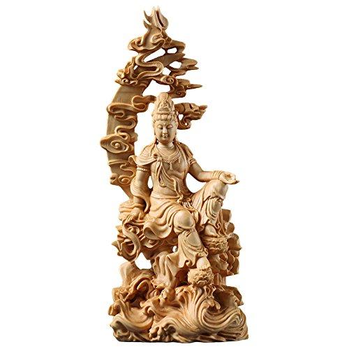 CCZHIDAO Holz-Spray Guanyin BOUDDHA chinesischer Stil Buddha Figur Statue- Basteln Holz BUDA Carving estatua Heimdekoration
