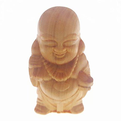 Holz hand-craved Scuplture Pflaster Statue Figur Sichuan-Lebensbaum Maitreya Buddha Stoffbeutel