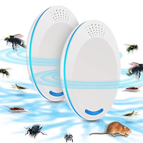 Ultraschall Schädlingsbekämpfer Mückenabwehr Mäusevertreiber Pest Repeller Control - Elektronisches Insektenschutzmittel - Haustierfreundlich Vertreiber gegen Nagetieren Insekten Ratten Spinnen Ameisen Mücken und Mäus-2PCS