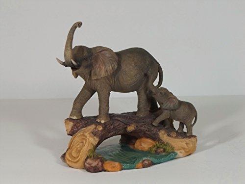Klp Elefant mit Baby auf Baumstamm Skulptur Deko Garten Tier Figur Afrika Statue
