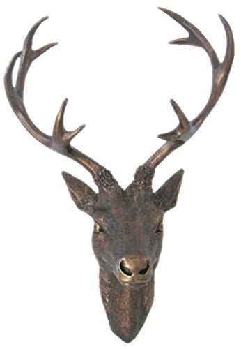 LINDER EXCLUSIV Hirschgeweih Hirschkopf Geweih 10-Ender in Bronze-Optik 15 x 30 cm Figur Skulptur Deko
