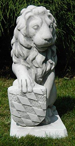 Unbekannt Dekofigur Gartenfigur Deko Skulptur Löwe mit Wappen auf rechter Seite H 41 cm aus Beton