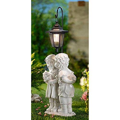 Unbekannt Solarlaterne Skulptur Garten Kunststein Deko Figur Solar LED Leuchte Laterne
