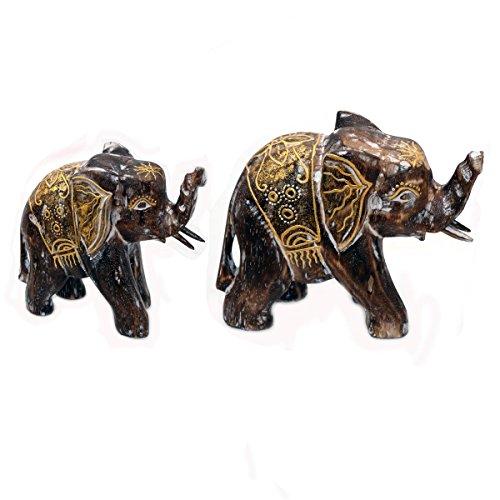 Holz Figur Elefant Dekoration Bali Deko Garten Wohnung Statue Tier Tiermotiv Geschenk - Gall&Zick Klein