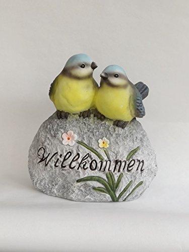 KLP 2 Vögel auf Stein Meise Blaumeise Garten Deko Tier Figur Skulptur Statue Blume