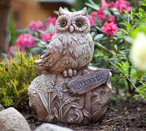 KLP Eule auf Stein Gartendeko Deko Garten Vogel Tier Figur Artikel Skulptur Statue