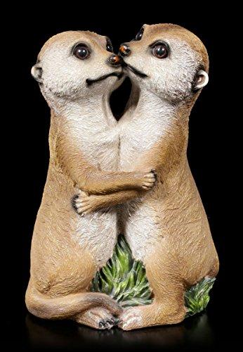Verliebtes Erdmännchen Paar Garten Figur  Deko Statue Familie Tiere