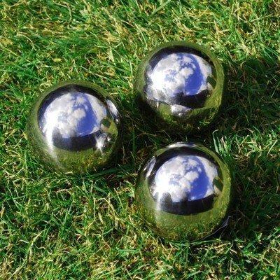 3 Garten Deco Kugeln Rosenkugeln aus silber poliertem Edelstahl 9cm
