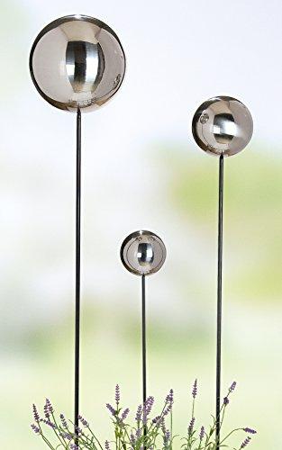 Rosenkugel auf Gartenstecker Kugel in silber Höhe 70 cm