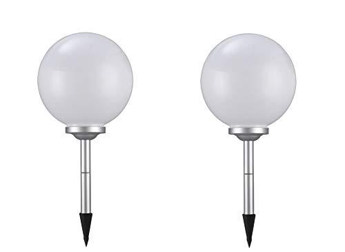 2 x LED Solar-Kugelleuchte Marla Solar-Kugellampe mit Erdspieß Durchmesser 30 cm Gartenlampe Kugelleuchte