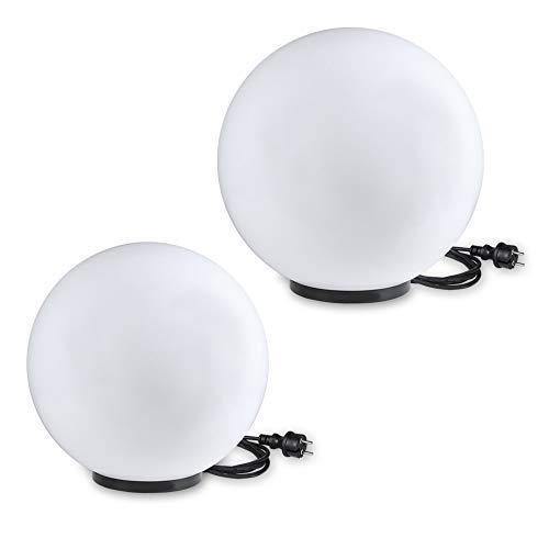 Kugelleuchten 2er SET Gartenbeleuchtung 30 40 cm Ø Außenleuchten weiße Gartenlampen Innen Außen Gartenkugeln für Energiesparlampen E27 LED - 230 V 23W Kugellampen mit IP44 180 cm Kabel