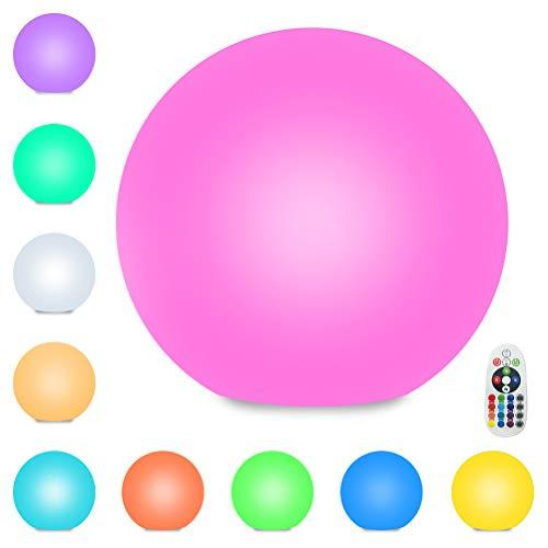 LED Kugellampe Wiederaufladbare Kugelleuchte Leuchtkugel Garten Kugel Farbwechsel 16 Farben Stimmungslicht Gartenleuchten mit Fernbedienung IP67 Wasserdicht für Innen Außen Terrasse Pool