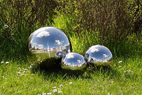 3er Köhko Gartenkugeln 15 25 und 40 cm poliert aus hochwertigem Edelstahl Dekokugeln-Set 15-25-40