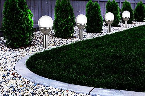 Fachhandel Plus 2er Set Kristallglas Premium Solarlampe Leuchte LED Edelstahl Gartenkugel
