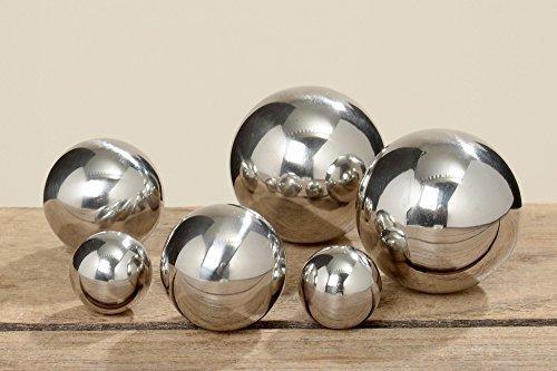 B&B Gartenkugel Set 6-teilig 25cm - 5cm Edelstahl Silber poliert Dekokugel