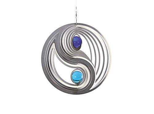 Illumino Windspiel Yin Yang Easy für den Garten aus Edelstahl  35 mm Opal Glas-Kugeln  Rostfreies Metall  Garten-Dekoration für draußen zum Aufhängen  Türkis und Kobaltblau