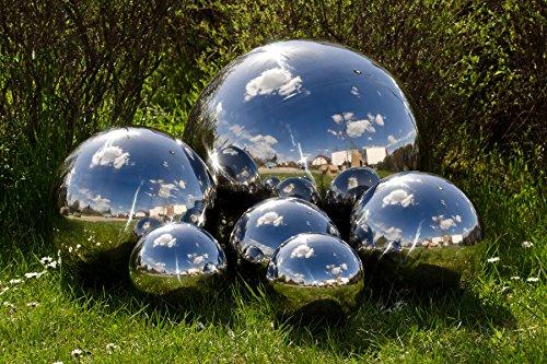 Köhko Gartenkugel 4-100 cm Größe 58 cm poliert aus hochwertigem Edelstahl Dekokugel Gr 58 cm